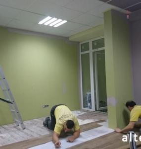 Photo of repair of office premises, internal work of employees of the construction company Alteza in Poltava.