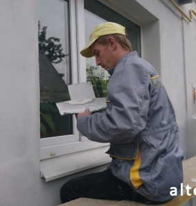 Photo of a private house insulation outside in with. Zaliznychny Poltava region employees of the construction company Alteza-4.