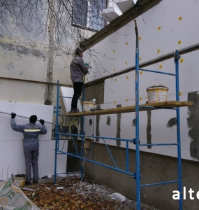 Photo of the facade insulation of a multi-apartment apartment house in Poltava by employees of the Alteza construction company-3.