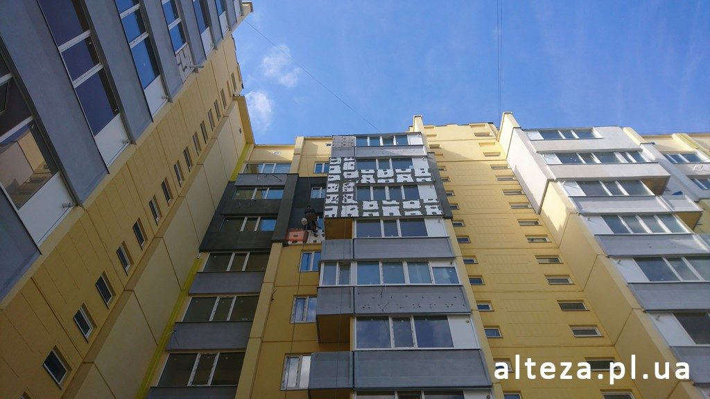 Photo of the insulation of the facade of the apartment outside in a multi-storey building, Alteza.